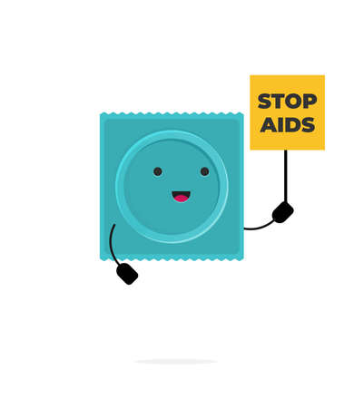 Condom with funny face. Vector flat illustration.