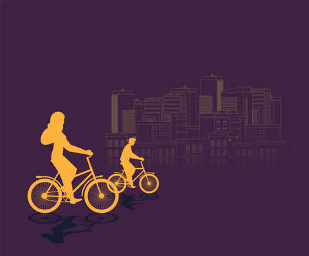 People riding a bicycle. Vector illustration