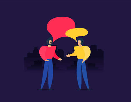 Two people talking vector, flat illustration