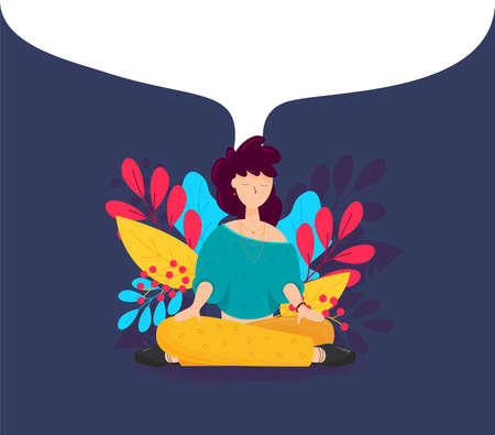 Girl sitting in a yoga Lotus position. Meditation girl Yoga in nature. Vector illustration