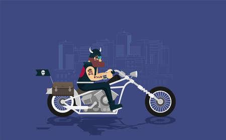 Flat vector classic motorcycle with brutal cartoon biker