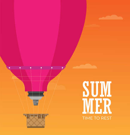 hot air balloon. Planning summer vacations. Tourism and vacation theme. Flat design vector illustration.