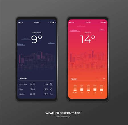 Calendar mobile apptasks ui ux design mockup vector image