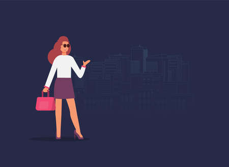 Young girl travel flat vector illustration