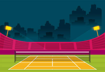 Background of tennis court. FLat vector illustration