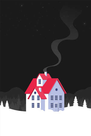 Christmas card with house in flat style