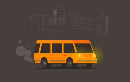 Vector illustration of a retro travel van flat style Vecteurs