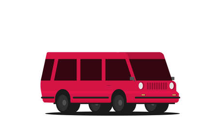 Vector illustration of a retro travel van flat style