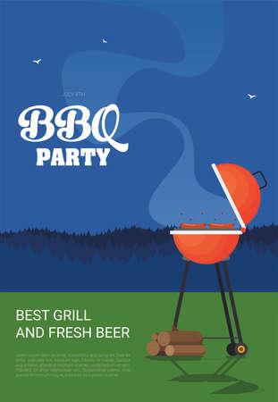 Barbecue. Flat style design - vector Çizim