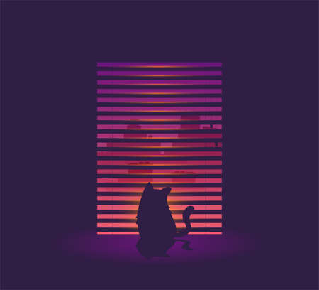 silhouette of cat, watching in the window vector