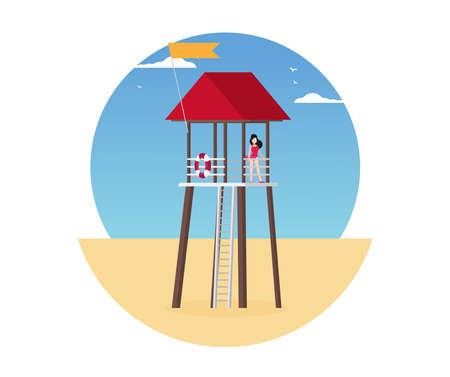 Summer holidays vector illustration, flat design beach Ilustracja