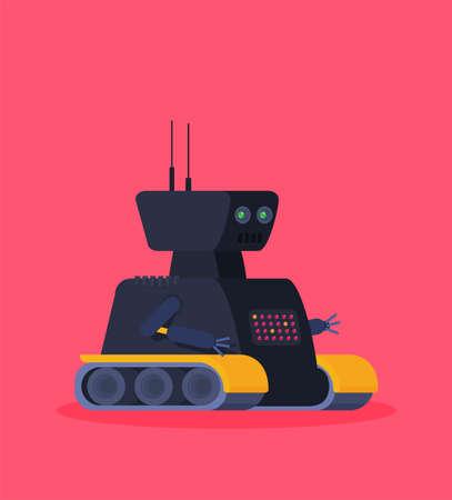 Robot. Customer support service chat bot. Flat vector illustration