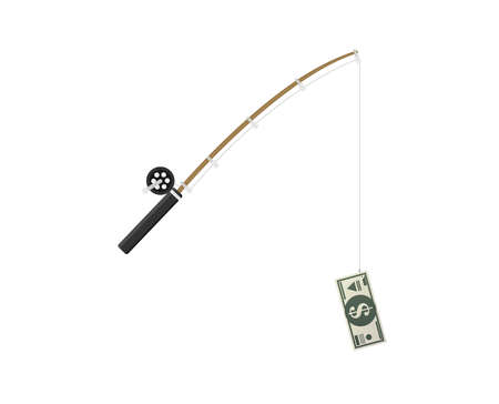 fishing rod and money bill as bait