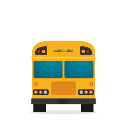 Yellow school bus back view flat illustration on background
