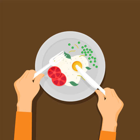 Breakfast vector illustration. Plate with sausage, sandwich and egg. Flat style