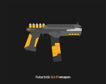 Futuristic Sci-Fi Pistol flat vector. Weapon. Gun.