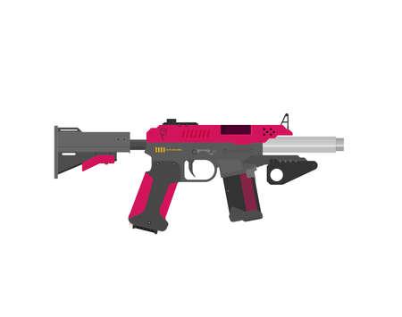 Futuristic Sci-Fi Pistol flat vector. Weapon. Gun. Vetores