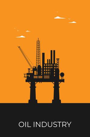 Flat vector Oil Platform Oil Industry