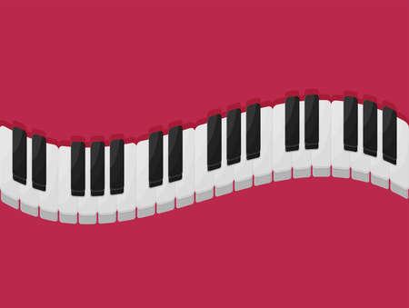 Musical flat background. Piano key, keyboard.