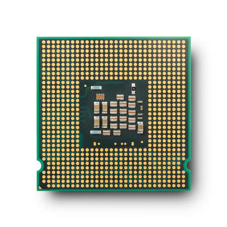 Computer processor isolated on white background. Top view