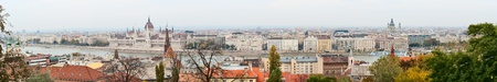 Budapest panorama over the Danube River on an overcast day photo