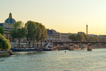 seine: View the banks of the Seine and the Eiffel Tower in Paris on a summer evening