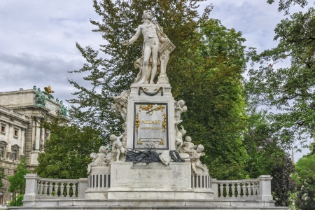 mozart: Vienna. Mozart Monument on a cloudy autumn day Editorial