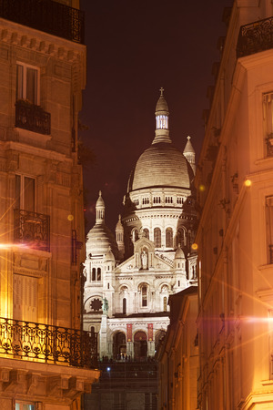 coeur: Montmartre, night view of the Sacre Coeur Boulevard Rochechouart Stock Photo