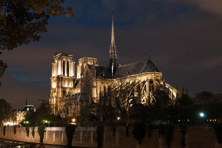 illuminated: Notre Dame autumn night illuminated Stock Photo