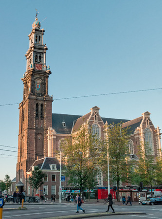 NETHERLANDS, AMSTERDAM - SEPTEMBER 09, 2015: The Calvinist Church of Westerkerk, the highest in Amsterdam - 85 meters, Rembrandt was buried on October 8, 1669. Editorial