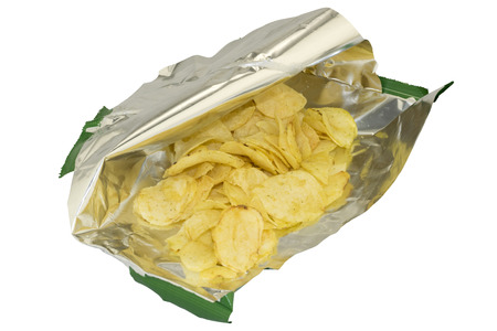 opened bag: Carelessly opened a bag of chips on white background