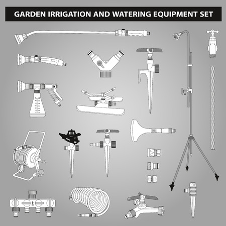 irrigation: garden irrigation and watering equipments set in black and white colors Illustration