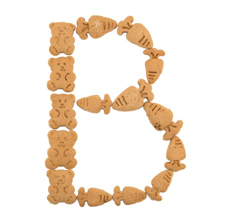 sweet sugar snap: isolated B letter of english alphabet made by cookies Stock Photo