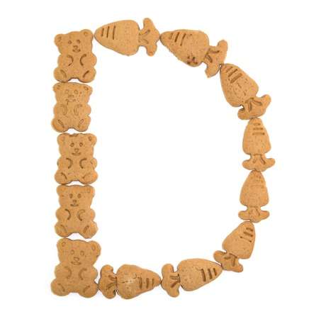 sweet sugar snap: isolated D letter of english alphabet made by cookies Stock Photo