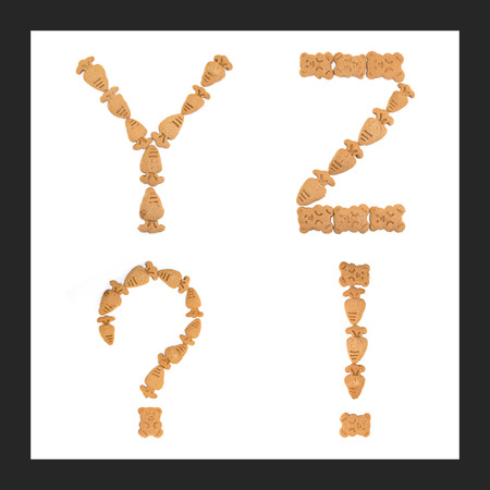 sweet sugar snap: isolated Y, Z letters of english alphabet made by cookies