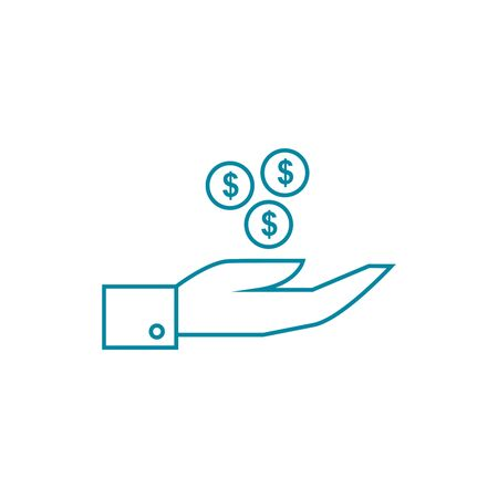 Money on hand symbol  objects the picture imaged graphic outline icons.