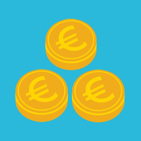 Business icon money euro, Image euro gold coin and illustration money sign in flat style.