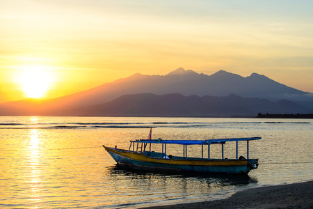 Boats on the Beach of Gili Meno, Indonesia