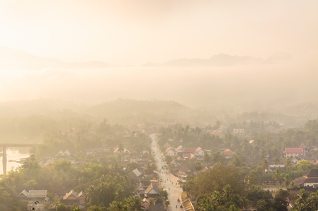 chillout: sunburst over Luang Prabang in the early morning,