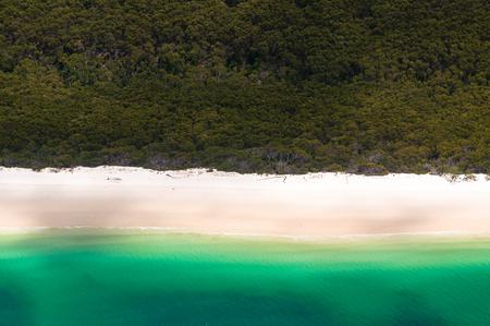 whitehaven beach: Aerial flight over Whitehaven Beach on the Whitsunday Islands, Queensland, Australia Stock Photo