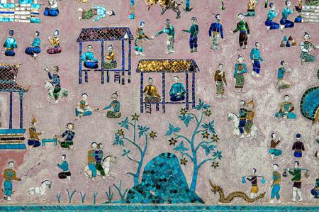 装飾されたワット ワットシェンクひも寺院の壁のモザイクでルアンパバーン, ラオス - 2013 年 2 月 18 日。