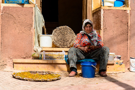 ABYANEH VILLAGE, IRAN - OCTOBER 12, 2014: portrait of elderly persian lady selling small yellow plums