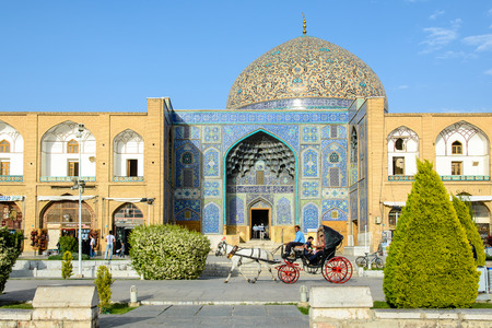 souq: ISFAHAN, IRAN - APRIL 24, 2015: Sheikh Lotfollah Mosque east of Naqsh-e Jahan Square