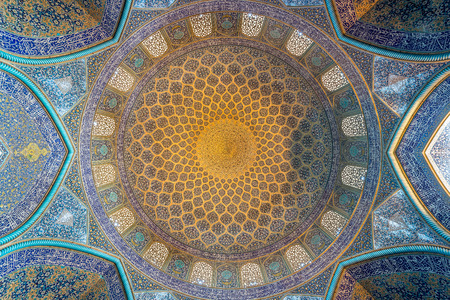 ISFAHAN, IRAN – AUG 29, 2016: interior ceiling of Sheikh Lotfollah Mosque. The mosque and the Naqsh-e Jahan Square are one of UNESCO's world heritage sites