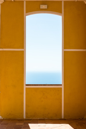 SAINT-CLAUDE, GUADELOUPE - OCTOBER 19, 2015: window with yellow framed wall, university of Basse-Terre Editorial