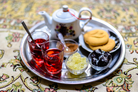 カーシャーン、イラン - 2016 年 8 月 27 日: 伝統的な茶室・ カーン 報道画像