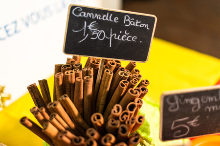 suq: cinnamon sticks on a street food market in St. Francois, Guadeloupe