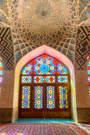 SHIRAZ, IRAN - APRIL 27, 2015: ceiling out of mosaics and ornaments of the Nasir ol Molk Mosque