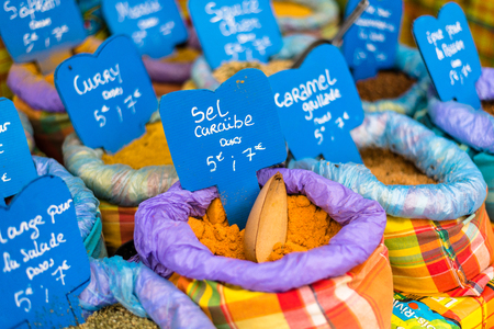 suq: various spices on a food market, Guadeloupe Stock Photo