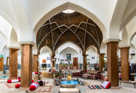 KASHAN, IRAN - APRIL 30, 2015: traditional Tea House Khan, ancient Hamam in the old Bazar of Kashan Editorial